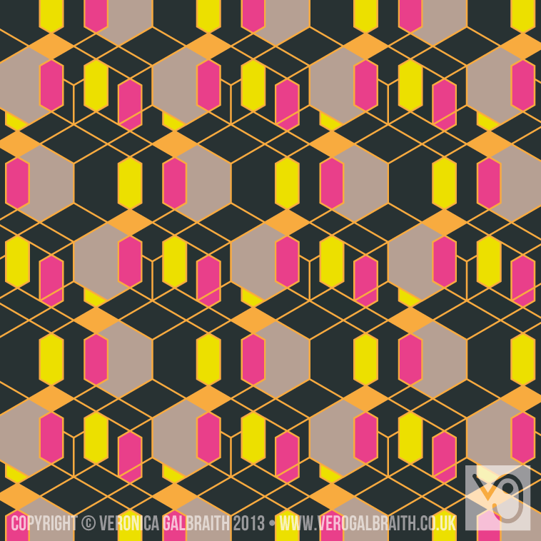 'Glowing Matrix' surface pattern design by Veronica Galbraith [1] | Pitter Pattern